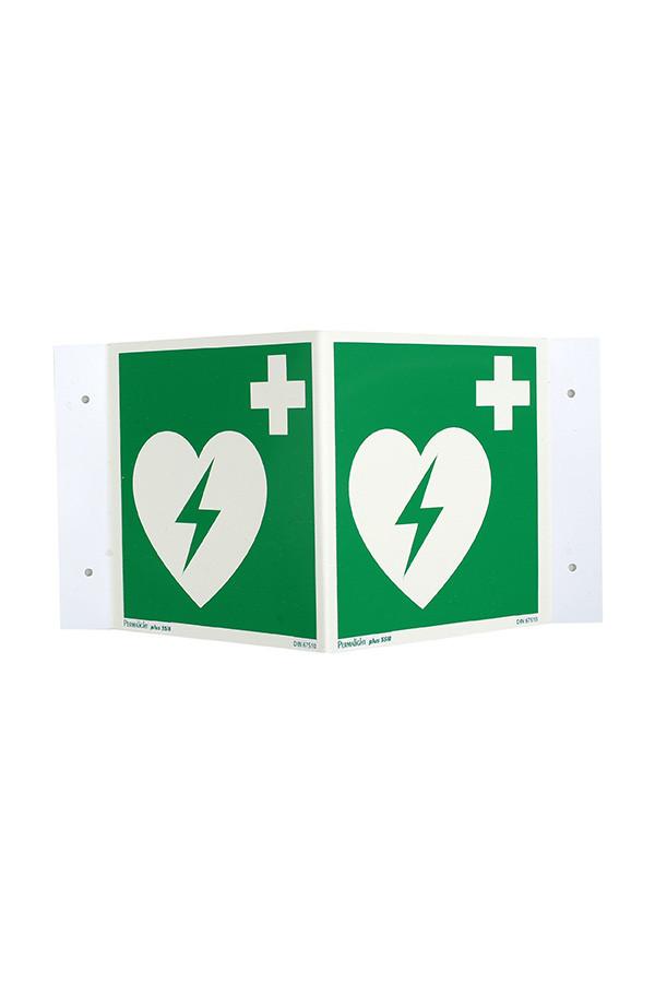 AED-Standort-Winkelschild, 15 x 15 cm  nachleuchtend