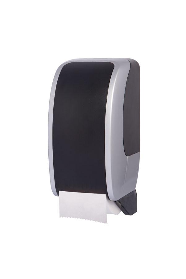 Toilettenpapierspender COSMOS, Kunststoff, Silber/Schwarz