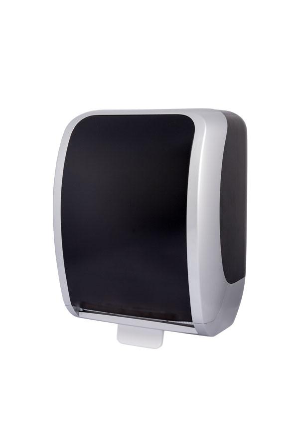 Handtuchrollenspender COSMOS Autocut, Kunststoff, Silber/Schwarz
