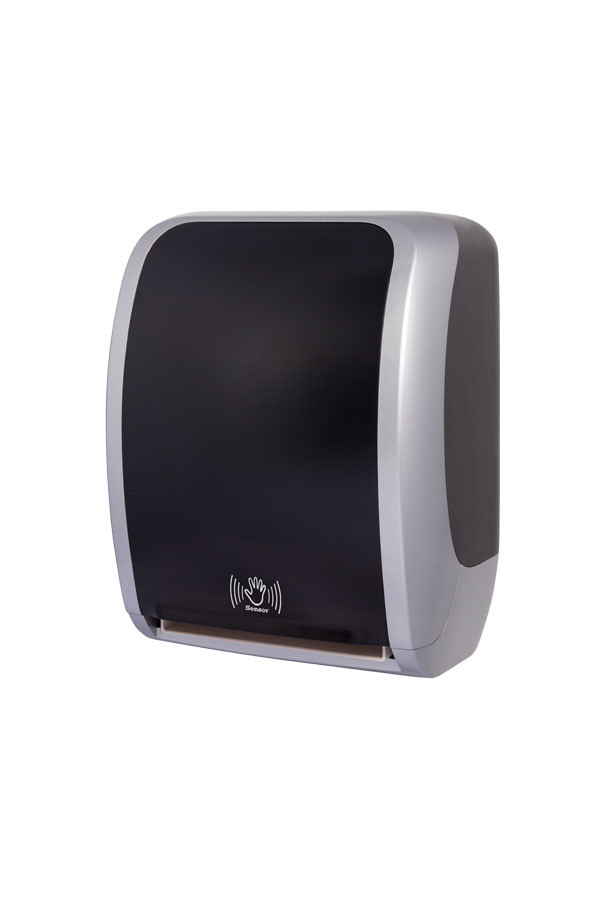 Sensor Handtuchrollenspender COSMOS, Kunststoff, Silber/Schwarz
