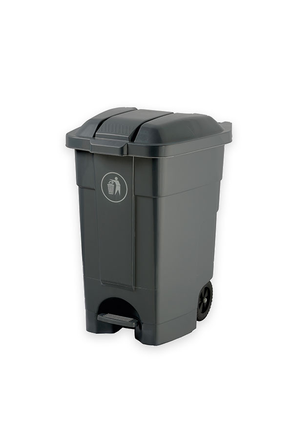 Abfallcontainer mit Pedal - grau 70 L