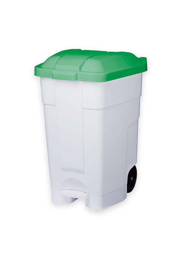 Abfall - Rollcontainer, weiß mit farbigem Deckel  70 L