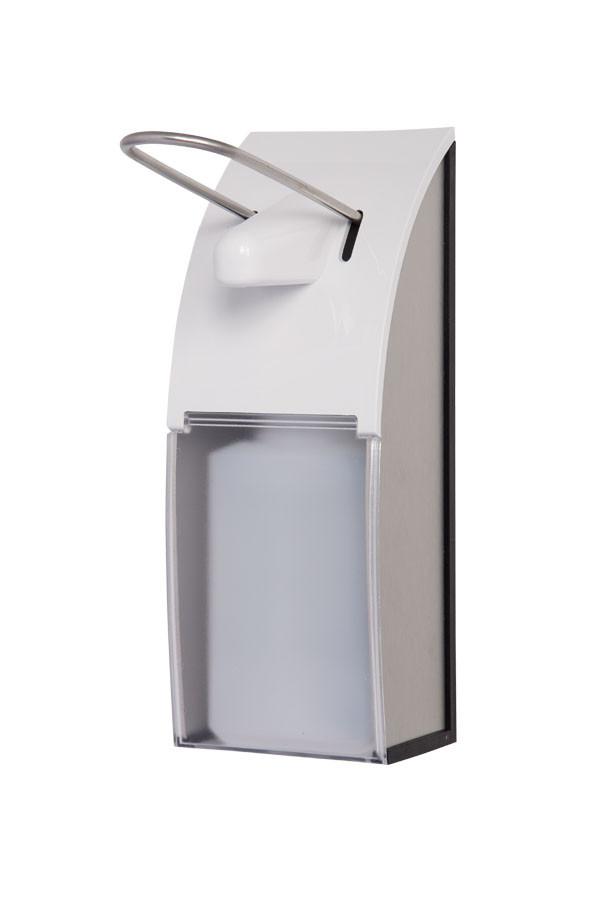 Design - Spender aus Edelstahl 350 / 500 ml mit klarer oder blauer Frontscheibe