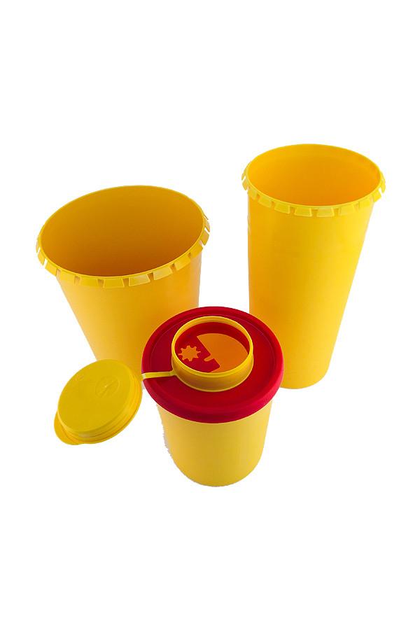Kanülensammler,  rund 1,5 + 2,5 Liter, gelb