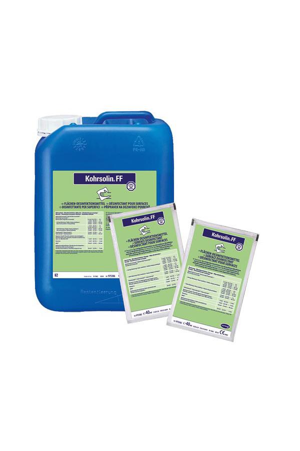 Kohrsolin FF Flächendesinfektion,  0.5 % / 1 Stunde, 125 x 40 ml Beutel / 5 Liter Kanister