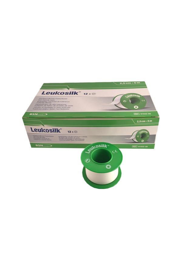 Leukosilk - Pflaster in 2 Größen, 5 m x 1,25 cm - 24 Rollen; 5 m x 2,50 cm - 12 Rollen