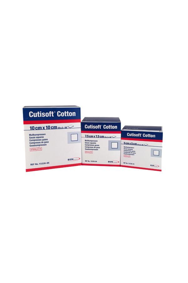 Cutisoft-Cotton Mullkompressen, steril, 8-fach in 3 Größen, 5 / 7,5 / 10 cm - 25 x 2 Stück