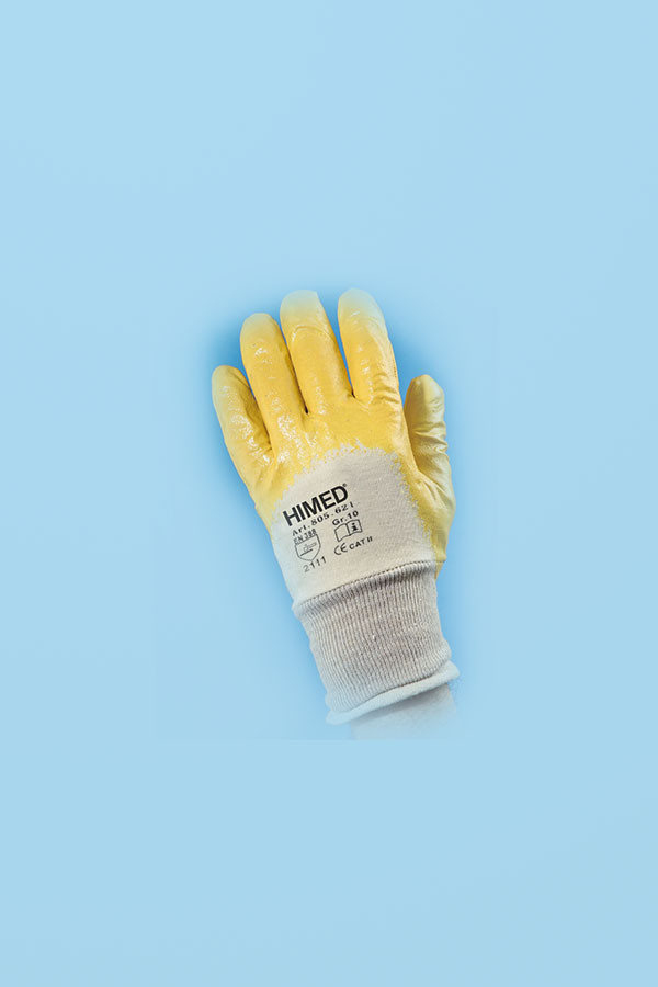 Baumwoll-Arbeitshandschuhe mit gelber Nitril-Beschichtung Gr. 7(S) - 11(XXL), 12 Paar/Pack