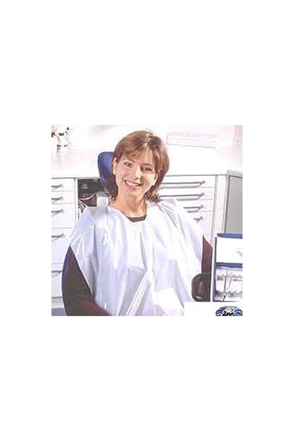 Patientenumhänge weiß  PE Folie - 200 Stück / Rolle