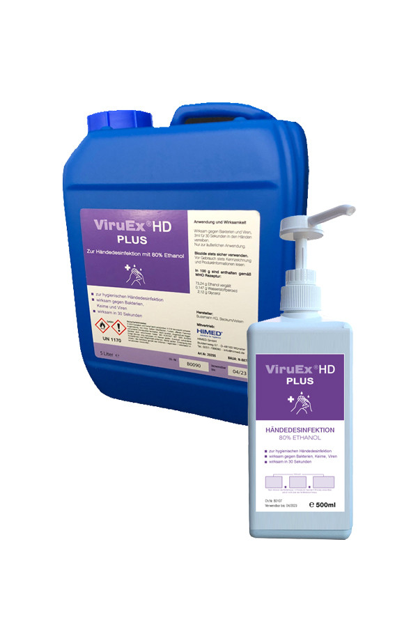 ViruEx HD PLUS Händedesinfektion (Biozid) 500 ml, 5 Liter