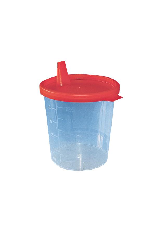 Urinbecher mit rotem Schnappdeckel - 500 Stück